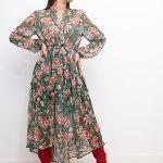 Vestido gasa corte midi estampado flores rojo/verde