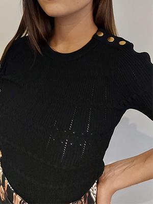 Jersey punto negro manga corta