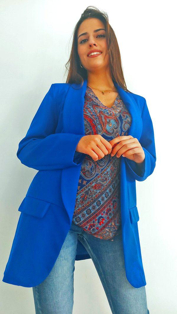 Chaqueta de trajes azul Combinación de ropa de moda